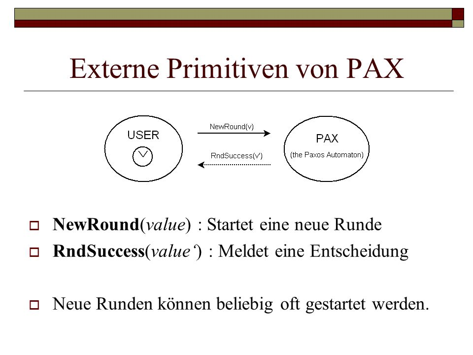 Externe Primitiven von PAX NewRound(value) : Startet eine neue Runde RndSuccess(value) : Meldet eine Entscheidung Neue Runden können beliebig oft gest