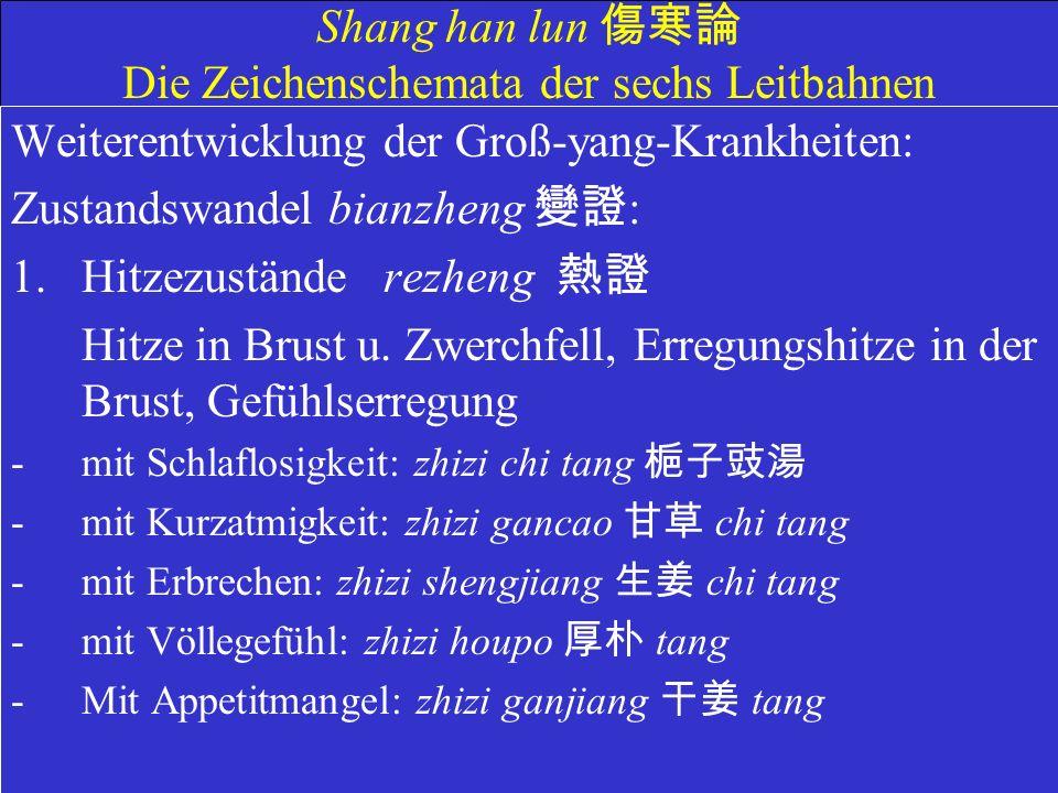 Shang han lun Die Zeichenschemata der sechs Leitbahnen Weiterentwicklung der Groß-yang-Krankheiten: Zustandswandel bianzheng : 1.Hitzezustände rezheng Hitze in Brust u.