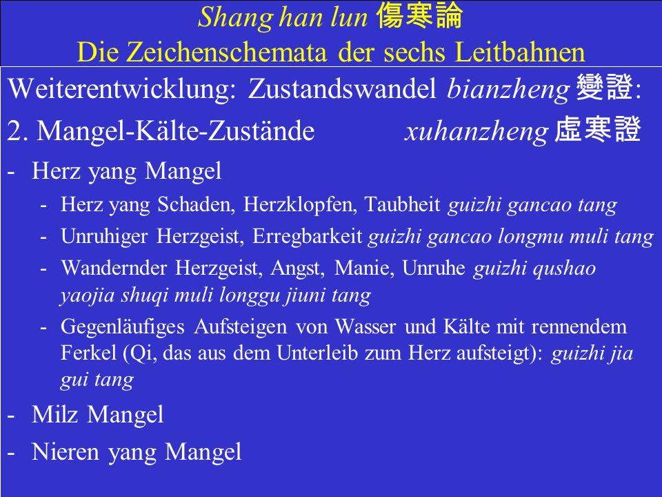 Shang han lun Die Zeichenschemata der sechs Leitbahnen Weiterentwicklung: Zustandswandel bianzheng : 2.