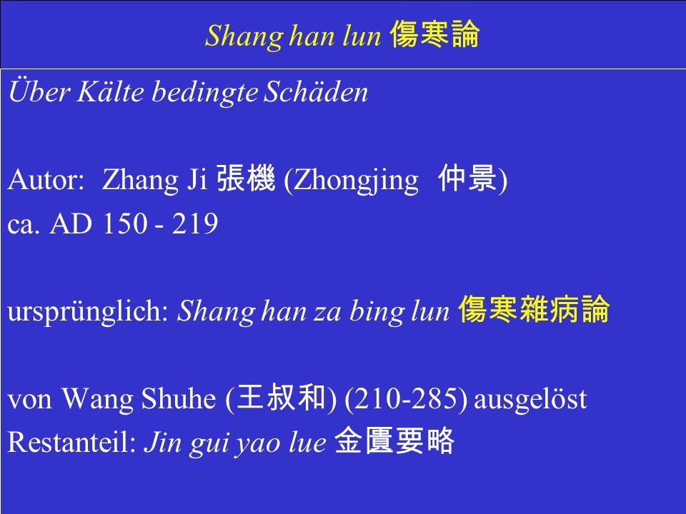 Shang han lun Über Kälte bedingte Schäden Autor: Zhang Ji (Zhongjing ) ca.