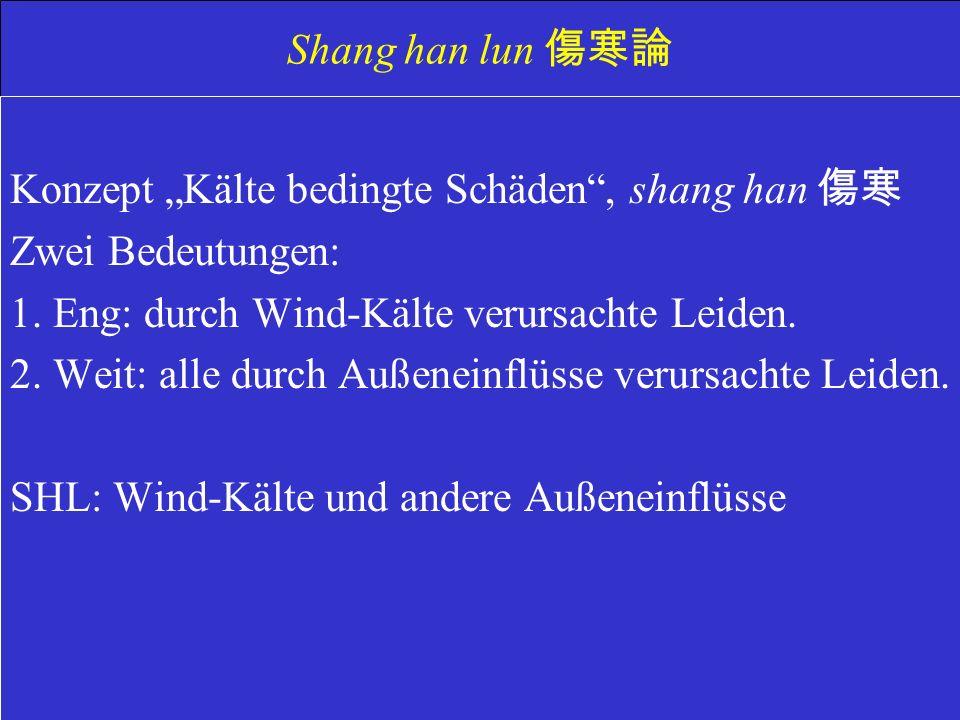 Shang han lun Konzept Kälte bedingte Schäden, shang han Zwei Bedeutungen: 1.