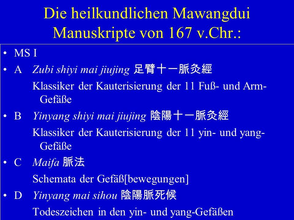 Die heilkundlichen Mawangdui Manuskripte von 167 v.Chr.: MS I AZubi shiyi mai jiujing Klassiker der Kauterisierung der 11 Fuß- und Arm- Gefäße BYinyan