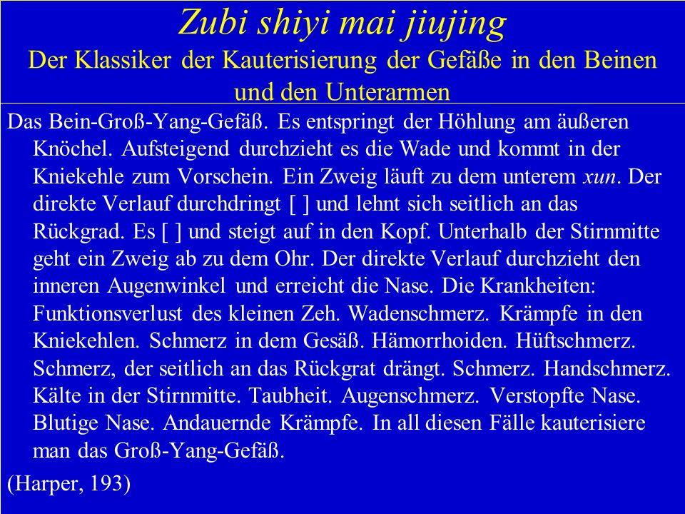 Zubi shiyi mai jiujing Der Klassiker der Kauterisierung der Gefäße in den Beinen und den Unterarmen Das Bein-Groß-Yang-Gefäß. Es entspringt der Höhlun
