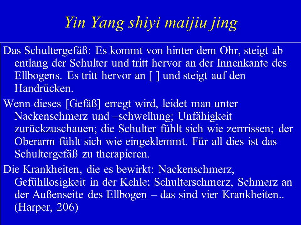 Yin Yang shiyi maijiu jing Das Schultergefäß: Es kommt von hinter dem Ohr, steigt ab entlang der Schulter und tritt hervor an der Innenkante des Ellbo