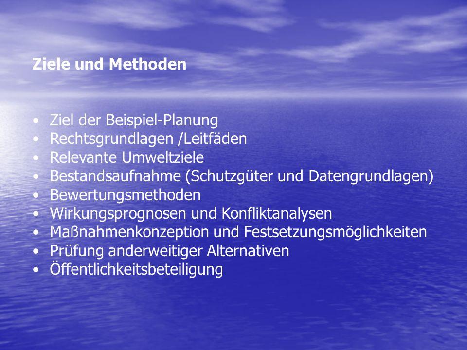 Ziele und Methoden Ziel der Beispiel-Planung Rechtsgrundlagen /Leitfäden Relevante Umweltziele Bestandsaufnahme (Schutzgüter und Datengrundlagen) Bewe