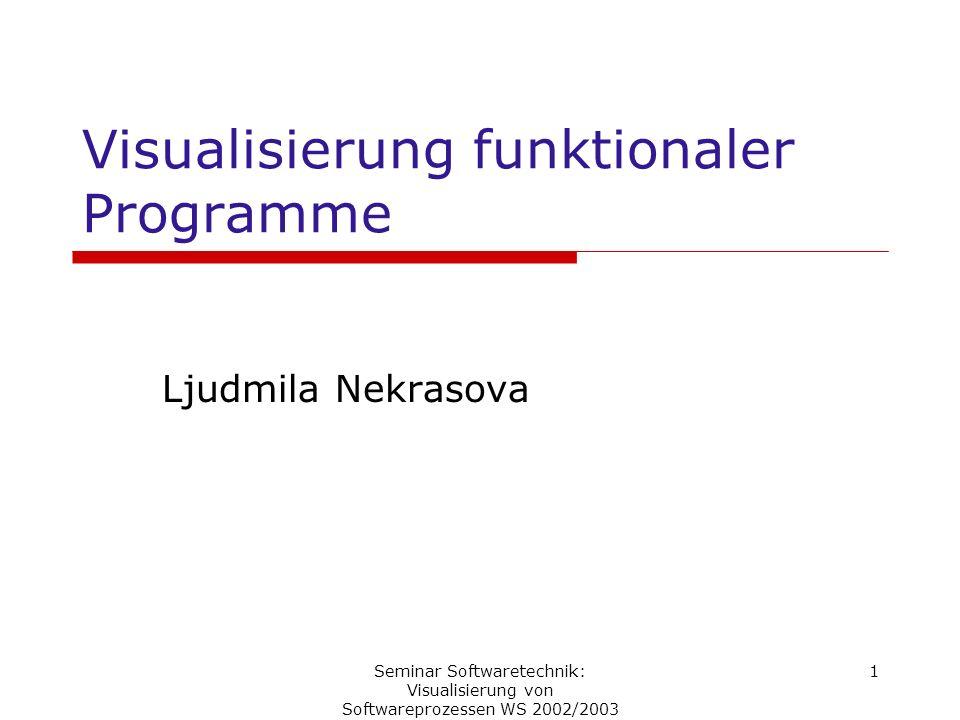 Seminar Softwaretechnik: Visualisierung von Softwareprozessen WS 2002/2003 1 Visualisierung funktionaler Programme Ljudmila Nekrasova