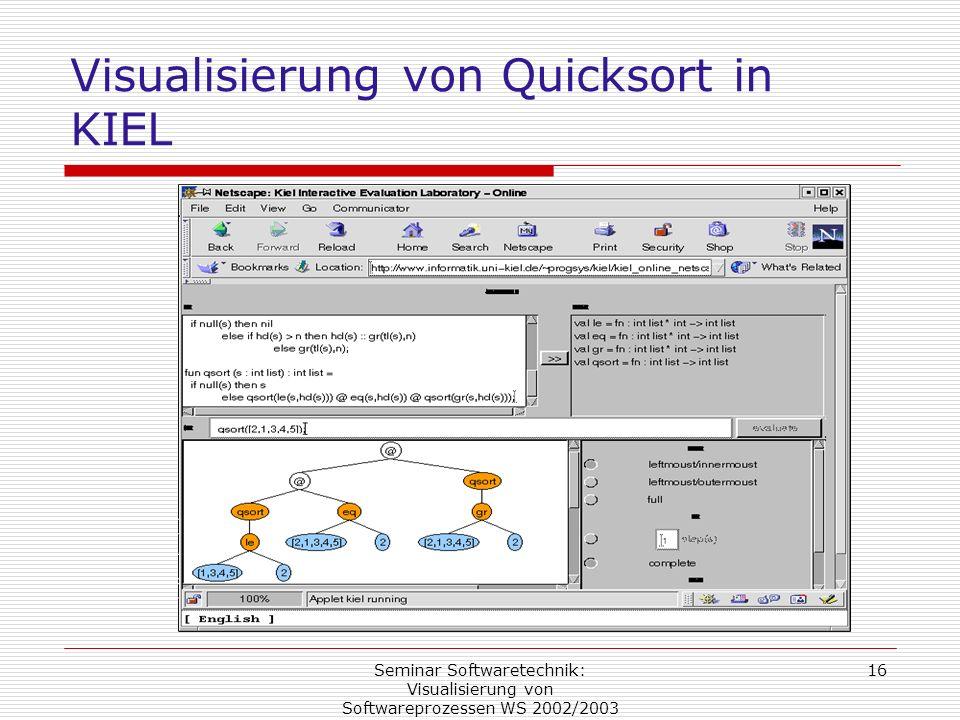 Seminar Softwaretechnik: Visualisierung von Softwareprozessen WS 2002/2003 16 Visualisierung von Quicksort in KIEL
