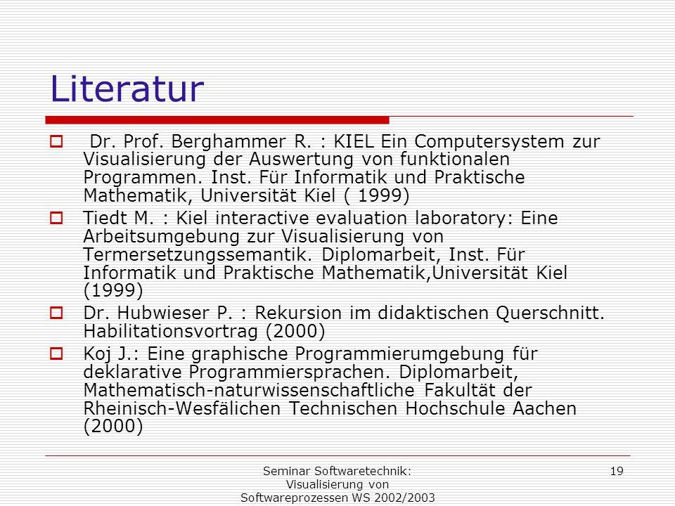Seminar Softwaretechnik: Visualisierung von Softwareprozessen WS 2002/2003 19 Literatur Dr. Prof. Berghammer R. : KIEL Ein Computersystem zur Visualis