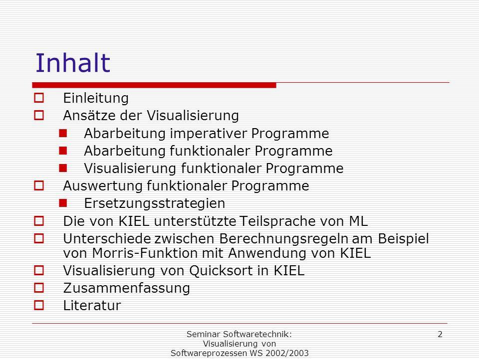 Seminar Softwaretechnik: Visualisierung von Softwareprozessen WS 2002/2003 2 Inhalt Einleitung Ansätze der Visualisierung Abarbeitung imperativer Prog
