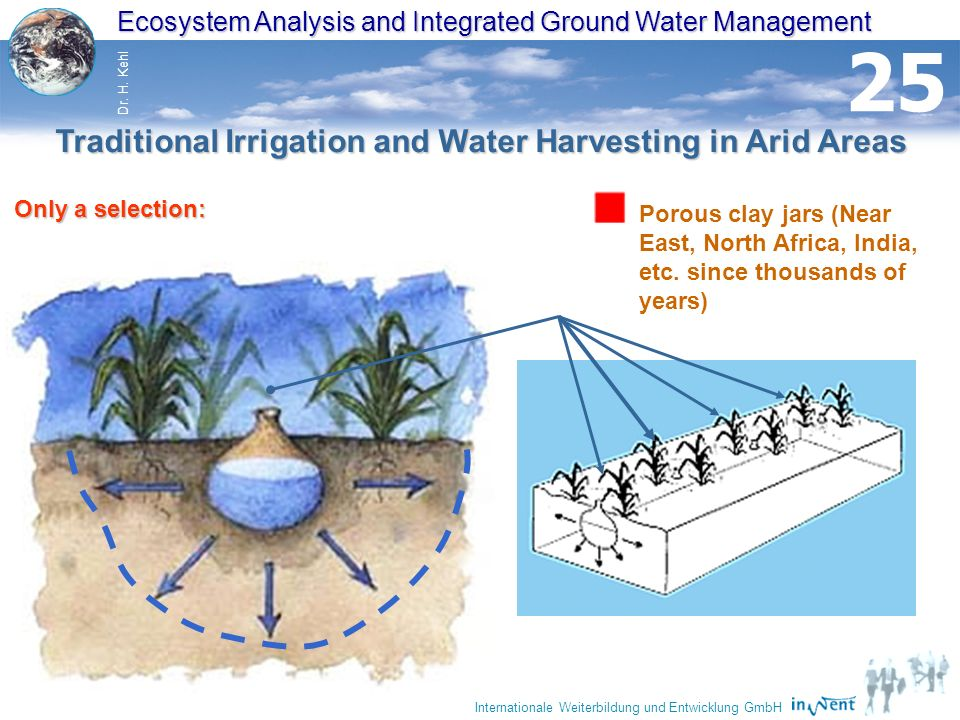 30 Ecosystem Analysis and Integrated Ground Water Management Dr. H. Kehl Internationale Weiterbildung und Entwicklung GmbH 25 Porous clay jars (Near E