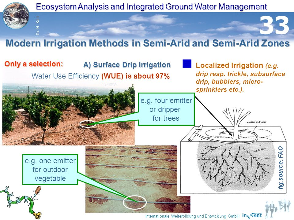 32 Ecosystem Analysis and Integrated Ground Water Management Dr. H. Kehl Internationale Weiterbildung und Entwicklung GmbH 33 Localized Irrigation (e.