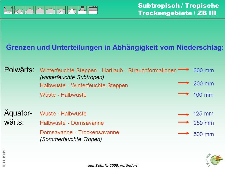 8 Grenzen und Unterteilungen in Abhängigkeit vom Niederschlag: aus Schultz 2000, verändert Polwärts: 300 mm 200 mm 125 mm 100 mm 250 mm Äquator- wärts
