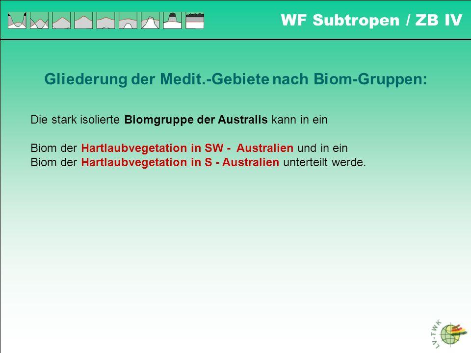 WF Subtropen / ZB IV Gliederung der Medit.-Gebiete nach Biom-Gruppen: Die stark isolierte Biomgruppe der Australis kann in ein Biom der Hartlaubvegeta