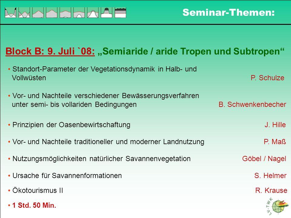 Block B: 9. Juli `08: Semia ride / aride Tropen und Subtropen Standort-Parameter der Vegetationsdynamik in Halb- und Vollwüsten P. Schulze Vor- und Na