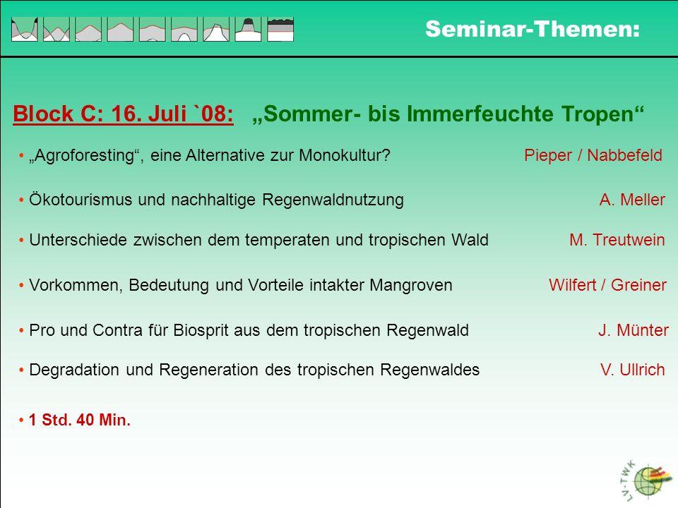 Seminar - Modalitäten Zusammen 19 Themen: Referat mit einem Studenten = 10 Min.