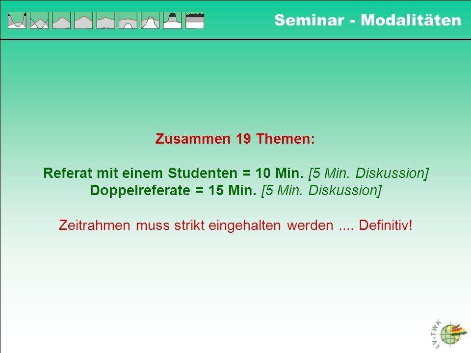 Seminar - Modalitäten Zusammen 19 Themen: Referat mit einem Studenten = 10 Min. [5 Min. Diskussion] Doppelreferate = 15 Min. [5 Min. Diskussion] Zeitr