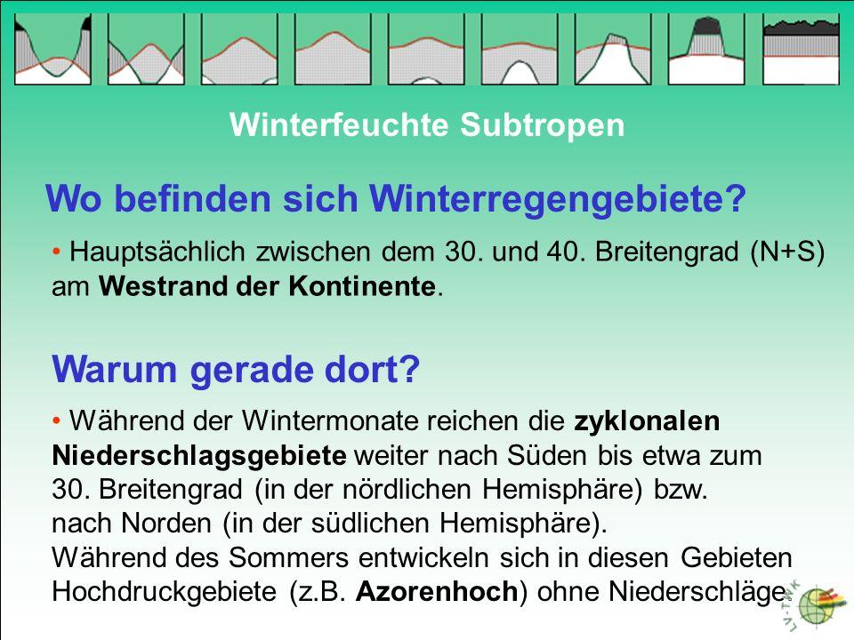 Wo befinden sich Winterregengebiete? Hauptsächlich zwischen dem 30. und 40. Breitengrad (N+S) am Westrand der Kontinente. Winterfeuchte Subtropen Waru