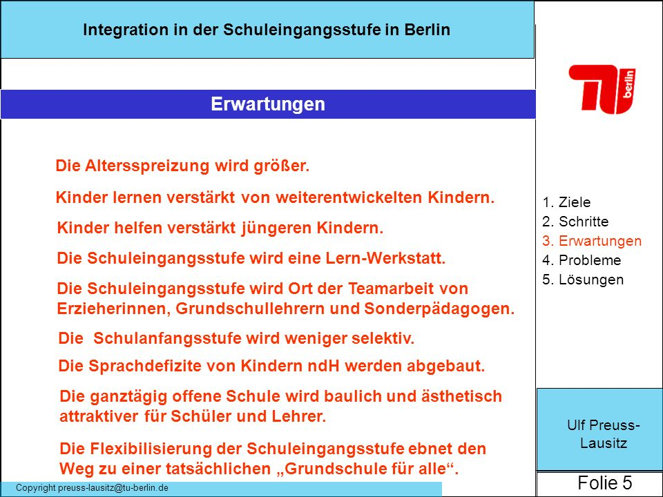Ulf Preuss- Lausitz Folie 5 Integration in der Schuleingangsstufe in Berlin Copyright preuss-lausitz@tu-berlin.de 1. Ziele 2. Schritte 3. Erwartungen