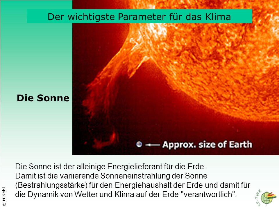Die Sonne ist der alleinige Energielieferant für die Erde. Damit ist die variierende Sonneneinstrahlung der Sonne (Bestrahlungsstärke) für den Energie
