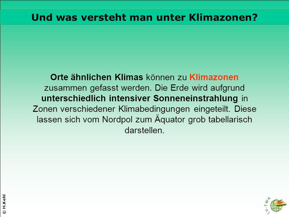 © H.Kehl Die drei wichtigsten Parameter Orte ähnlichen Klimas können zu Klimazonen zusammen gefasst werden. Die Erde wird aufgrund unterschiedlich int