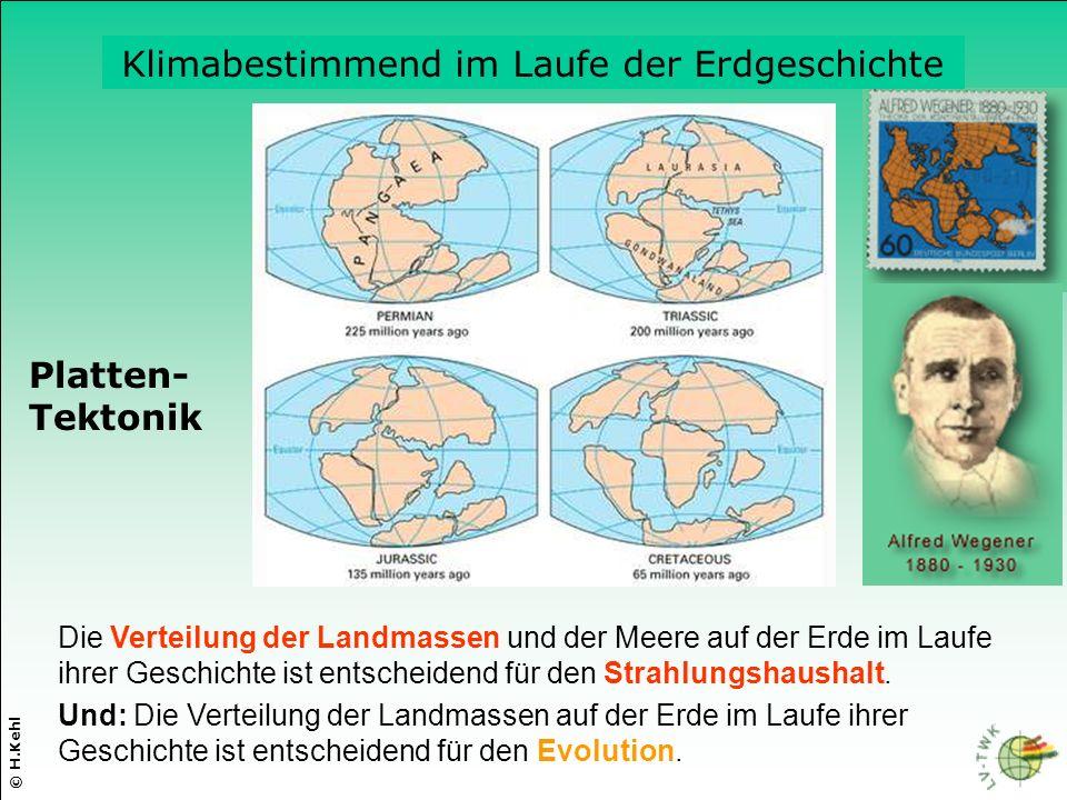 Die Verteilung der Landmassen und der Meere auf der Erde im Laufe ihrer Geschichte ist entscheidend für den Strahlungshaushalt. © H.Kehl Platten- Tekt