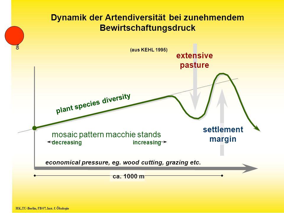Dynamik der Artendiversität bei zunehmendem Bewirtschaftungsdruck (aus KEHL 1995) HK,TU-Berlin, FB 07, Inst.