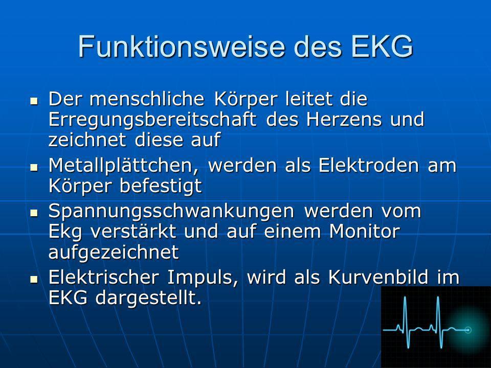 Funktionsweise des EKG Der menschliche Körper leitet die Erregungsbereitschaft des Herzens und zeichnet diese auf Der menschliche Körper leitet die Er