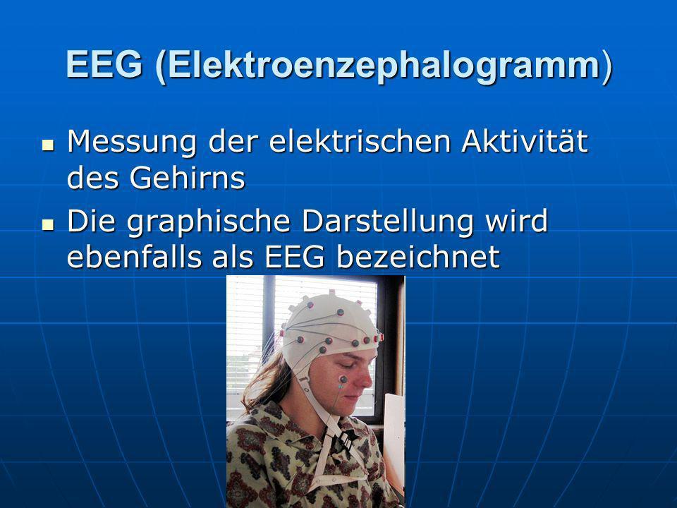 EEG (Elektroenzephalogramm) Messung der elektrischen Aktivität des Gehirns Messung der elektrischen Aktivität des Gehirns Die graphische Darstellung w