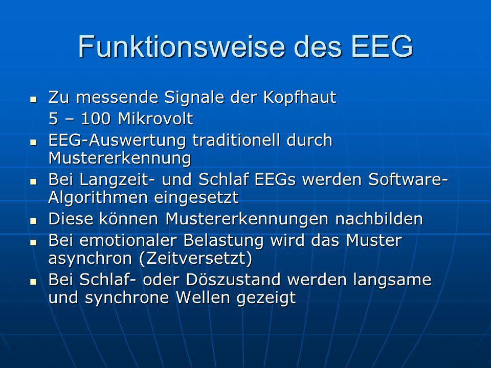 Funktionsweise des EEG Zu messende Signale der Kopfhaut Zu messende Signale der Kopfhaut 5 – 100 Mikrovolt EEG-Auswertung traditionell durch Mustererk