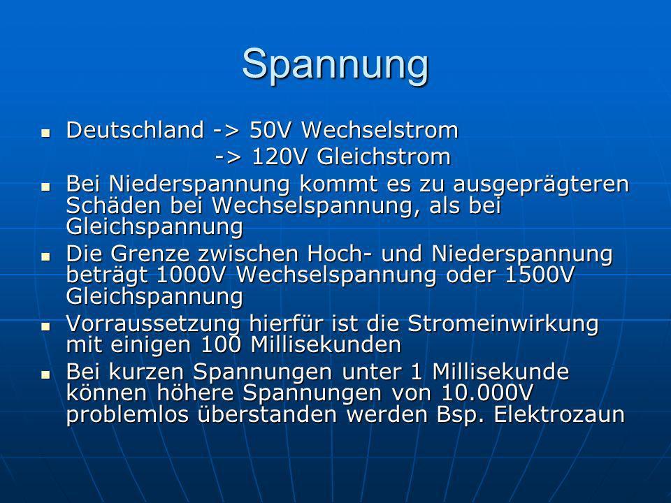 Spannung Deutschland -> 50V Wechselstrom Deutschland -> 50V Wechselstrom -> 120V Gleichstrom -> 120V Gleichstrom Bei Niederspannung kommt es zu ausgep