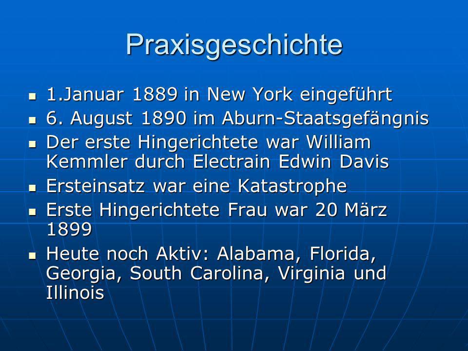 Praxisgeschichte 1.Januar 1889 in New York eingeführt 1.Januar 1889 in New York eingeführt 6. August 1890 im Aburn-Staatsgefängnis 6. August 1890 im A