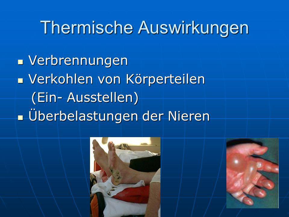 Thermische Auswirkungen Verbrennungen Verbrennungen Verkohlen von Körperteilen Verkohlen von Körperteilen (Ein- Ausstellen) (Ein- Ausstellen) Überbela