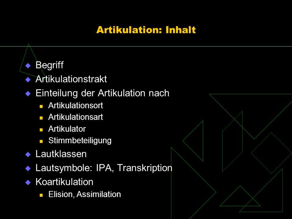 Artikulation: Inhalt Begriff Artikulationstrakt Einteilung der Artikulation nach Artikulationsort Artikulationsart Artikulator Stimmbeteiligung Lautkl