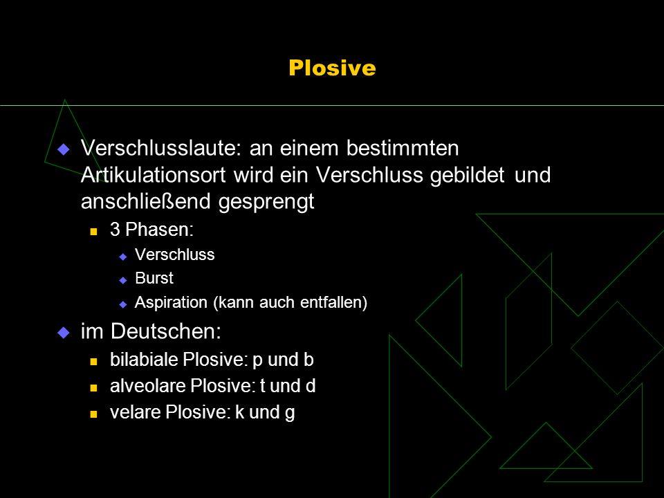 Plosive Verschlusslaute: an einem bestimmten Artikulationsort wird ein Verschluss gebildet und anschließend gesprengt 3 Phasen: Verschluss Burst Aspir