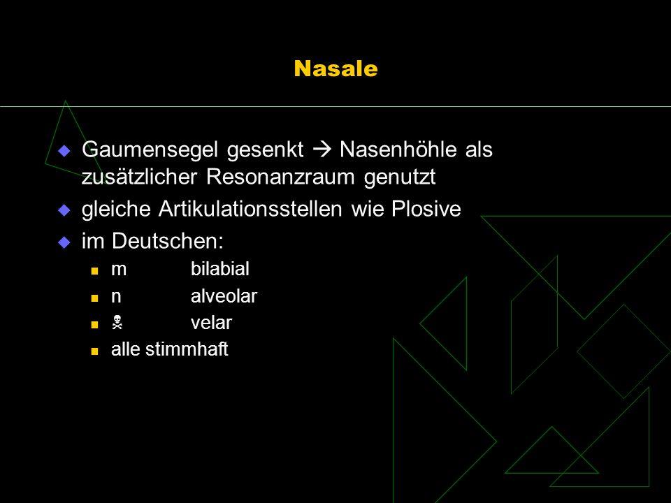Nasale Gaumensegel gesenkt Nasenhöhle als zusätzlicher Resonanzraum genutzt gleiche Artikulationsstellen wie Plosive im Deutschen: mbilabial nalveolar