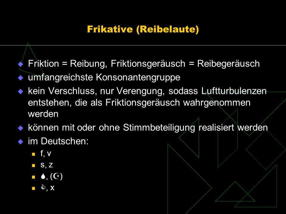 Frikative (Reibelaute) Friktion = Reibung, Friktionsgeräusch = Reibegeräusch umfangreichste Konsonantengruppe kein Verschluss, nur Verengung, sodass L