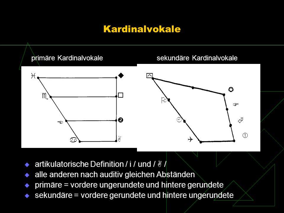 Kardinalvokale artikulatorische Definition / i / und / / alle anderen nach auditiv gleichen Abständen primäre = vordere ungerundete und hintere gerund