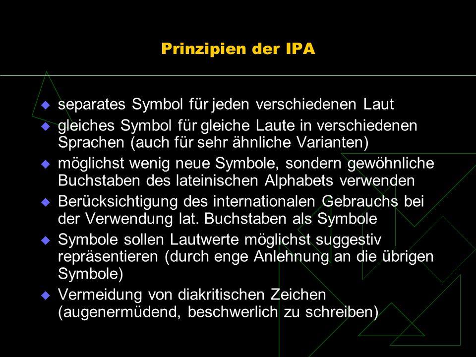 Prinzipien der IPA separates Symbol für jeden verschiedenen Laut gleiches Symbol für gleiche Laute in verschiedenen Sprachen (auch für sehr ähnliche V