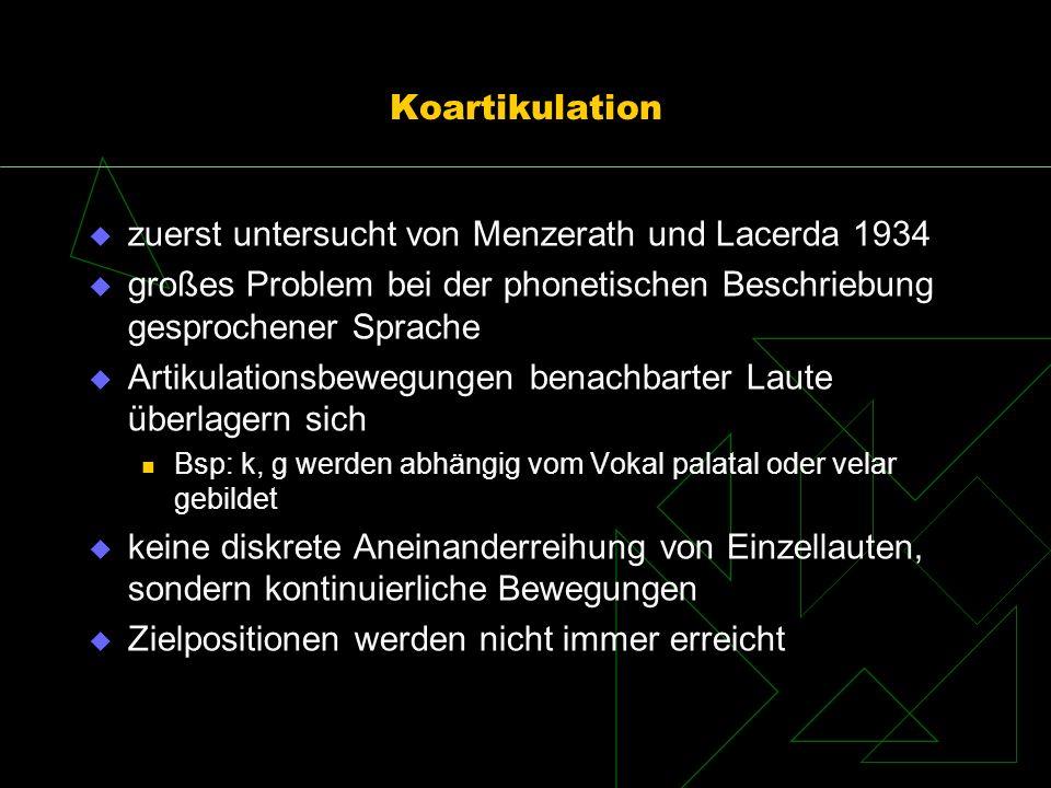 Koartikulation zuerst untersucht von Menzerath und Lacerda 1934 großes Problem bei der phonetischen Beschriebung gesprochener Sprache Artikulationsbew