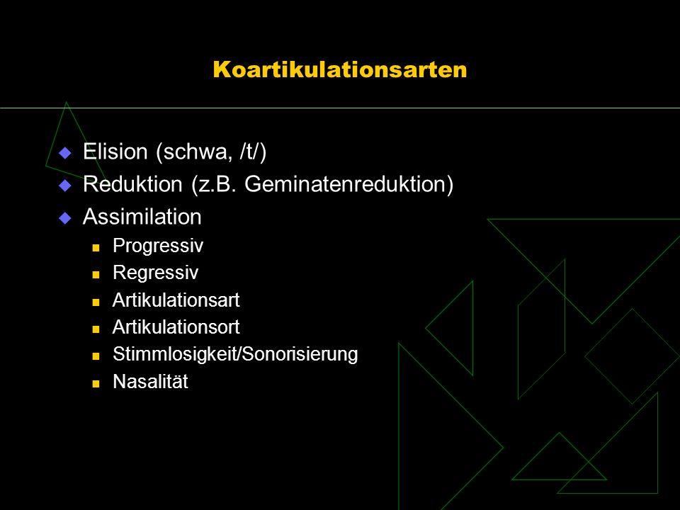 Koartikulationsarten Elision (schwa, /t/) Reduktion (z.B. Geminatenreduktion) Assimilation Progressiv Regressiv Artikulationsart Artikulationsort Stim