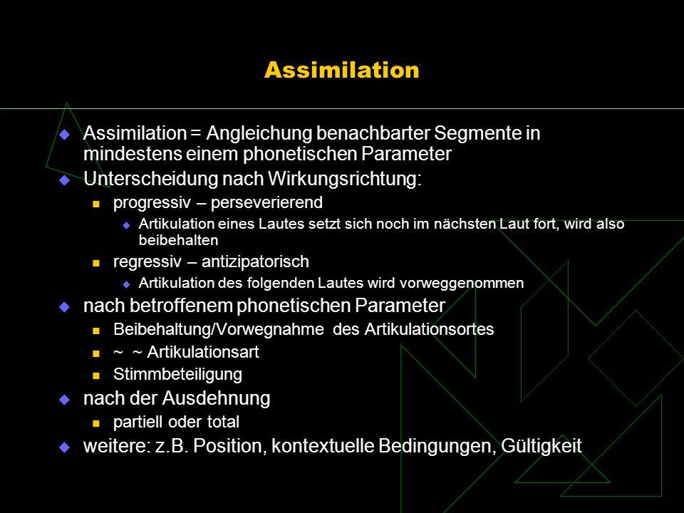 Assimilation Assimilation = Angleichung benachbarter Segmente in mindestens einem phonetischen Parameter Unterscheidung nach Wirkungsrichtung: progres