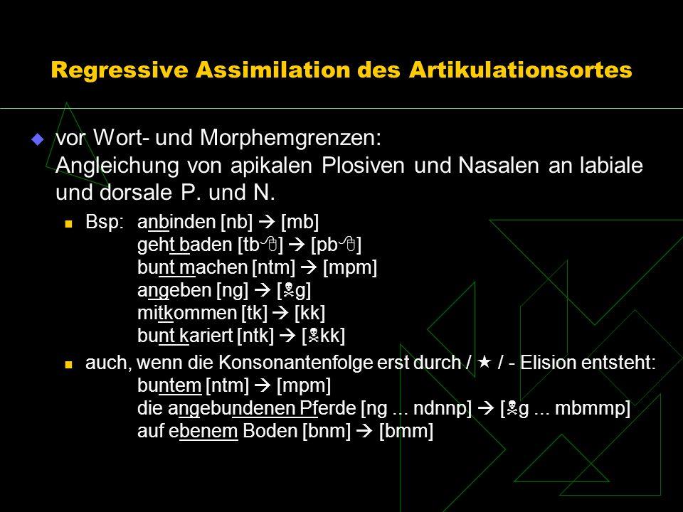 Regressive Assimilation des Artikulationsortes vor Wort- und Morphemgrenzen: Angleichung von apikalen Plosiven und Nasalen an labiale und dorsale P. u