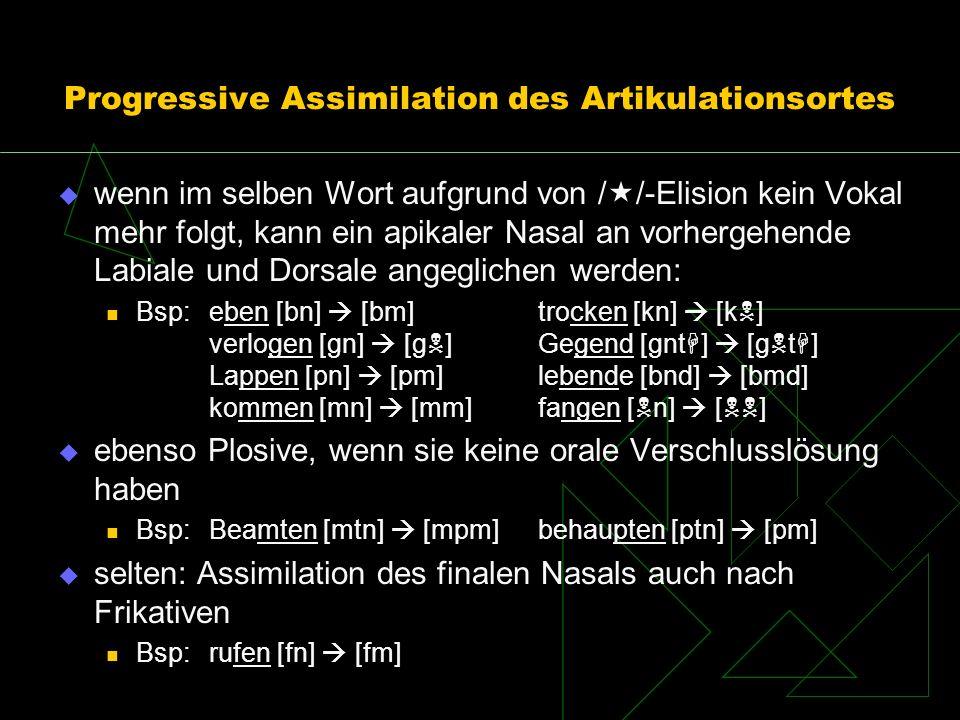 Progressive Assimilation des Artikulationsortes wenn im selben Wort aufgrund von / /-Elision kein Vokal mehr folgt, kann ein apikaler Nasal an vorherg