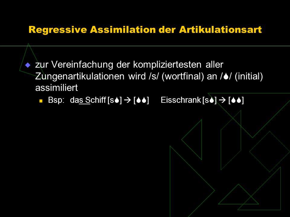 Regressive Assimilation der Artikulationsart zur Vereinfachung der kompliziertesten aller Zungenartikulationen wird /s/ (wortfinal) an / / (initial) a