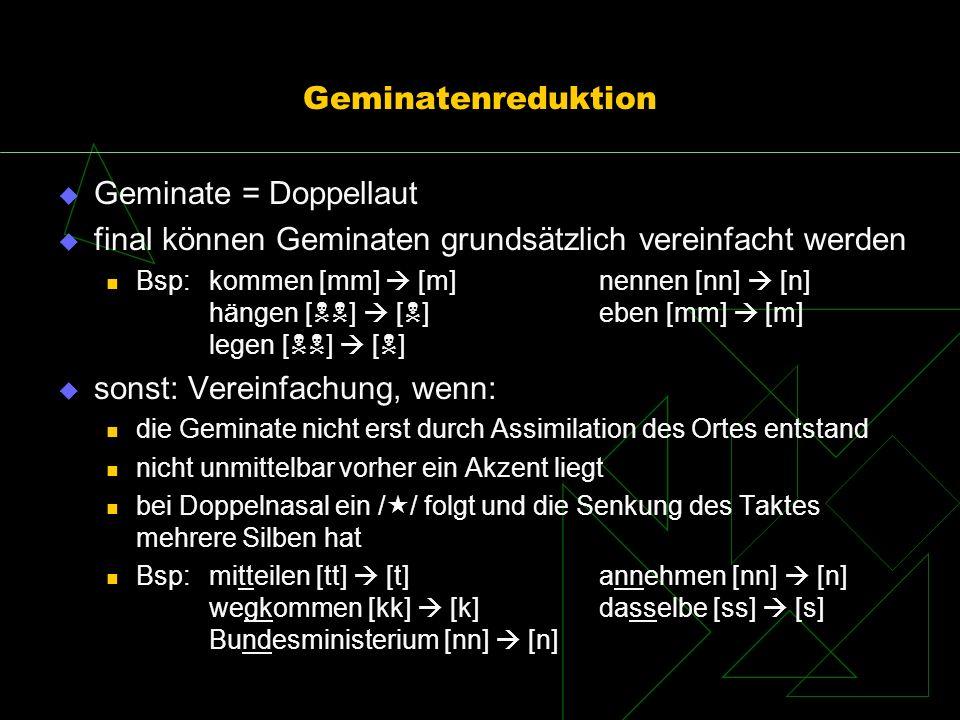 Geminatenreduktion Geminate = Doppellaut final können Geminaten grundsätzlich vereinfacht werden Bsp: kommen [mm] [m]nennen [nn] [n] hängen [ ] [ ]ebe