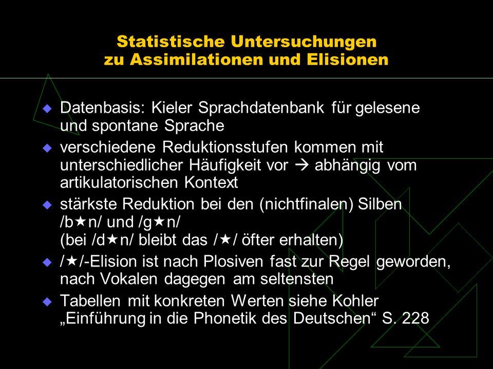 Statistische Untersuchungen zu Assimilationen und Elisionen Datenbasis: Kieler Sprachdatenbank für gelesene und spontane Sprache verschiedene Reduktio