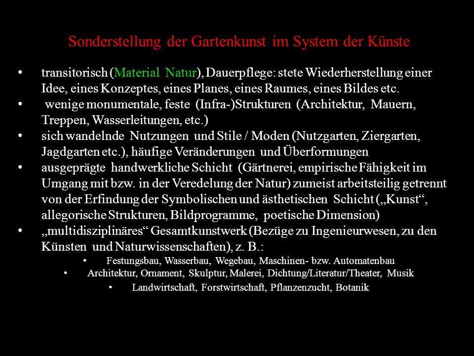 Sonderstellung der Gartenkunst im System der Künste transitorisch (Material Natur), Dauerpflege: stete Wiederherstellung einer Idee, eines Konzeptes,