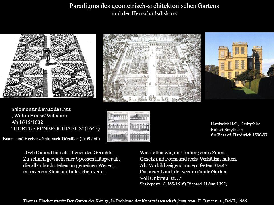 Paradigma des geometrisch-architektonischen Gartens und der Herrschaftsdiskurs Geh Du und hau als Diener des Gerichts Zu schnell gewachsener Spossen H