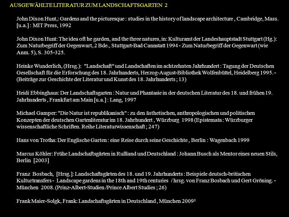 Geschichte der Gartenkunst (aus dem Blickwinkel der Kunstgeschichte) Chronologisch geordnete Wissensbestände aus den materiellen, literarischen, bildlichen Quellen Konstruktion einer Stil und Formgeschichte als Entwicklungsmodell / Epochenabfolge Verknüpfung der Stil- und Formgeschichte mit einer Bedeutungs- geschichte im Rahmen religiöser, literarisch-philosophischer und poltischer Ideengeschichte (Ikonographie/Ikonologie) Große Erzählung vom Aufstieg und Niedergang der führenden Gartenparadigmen als Modelle wechselnder Weltanschauungen Phase der Dekonstruktion der großen Erzählungen (Infragestellung der Stilgeschichte, des angenommenen Zusammenhanges zwischen Form und Bedeutung, Bedeutungen als reine Zuschreibungen und soziale Konstruktionen = Streit um Quellenauslegungen etc.) Stefan Schweizer/Sascha Winter (Hrsg): Gartenkunst in Deutschland : von der Frühen Neuzeit bis zur Gegenwart ; Geschichte, Themen, Perspektiven, Regensburg 2012