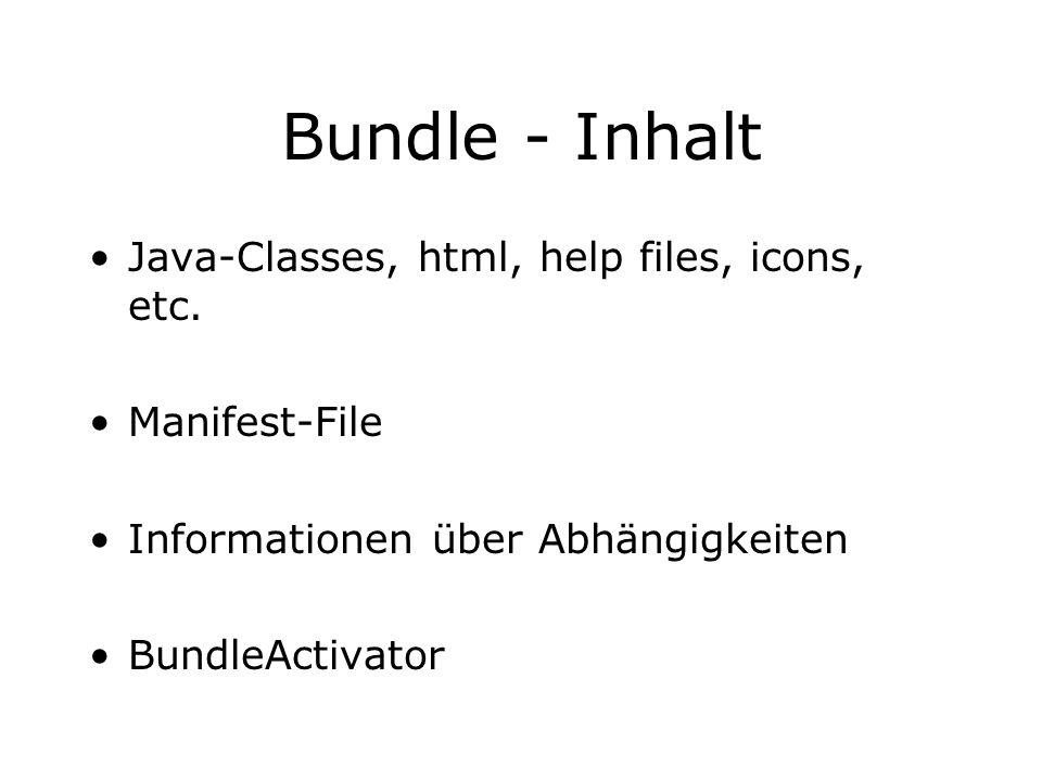 Bundle - Inhalt Java-Classes, html, help files, icons, etc. Manifest-File Informationen über Abhängigkeiten BundleActivator